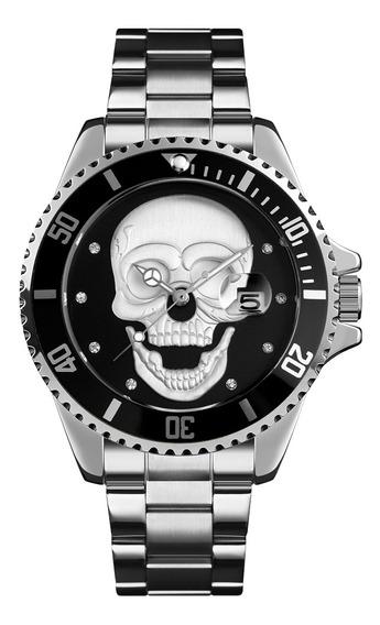 Skmei 9195 - Reloj De Pulsera Para Hombre (plata Y Negro), D