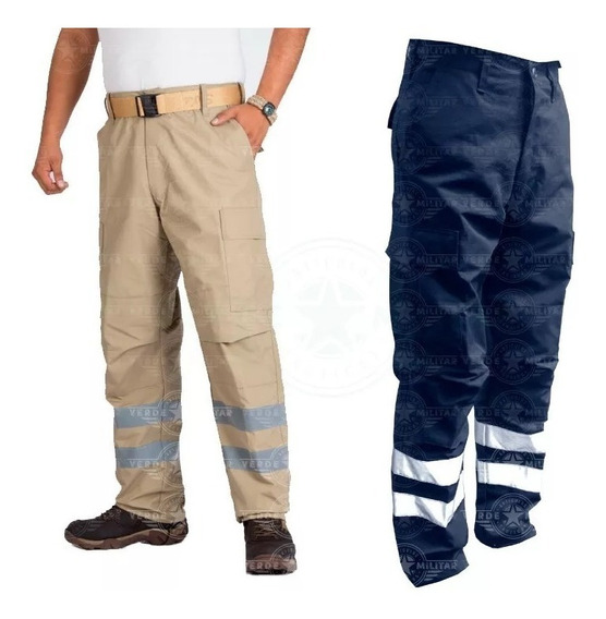 Pantalon Tactico Con Reflejante Paramedico Ciclista Motociclista Bolsas De Cargo Tela Antirrasgadura Uniforme Comando