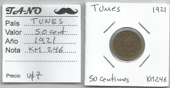 M216 Túnez Moneda 50 Cent. 1921 Km# 246 Hermosos Detalles