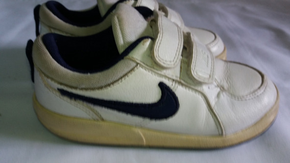 Tenis Infantil Nike Branco Com Detalhe Azul N. 24 15cm