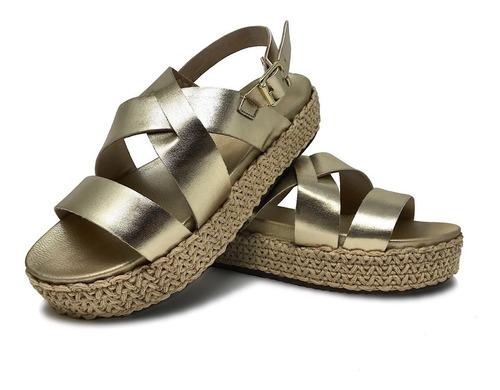 Sandalia Para Dama Plataforma En Yute Color Oro Mate