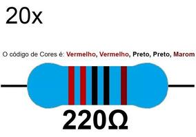20 Resistor 220 Ohms 1/4 W 1% Azul Led 5v Arduino Raspberry