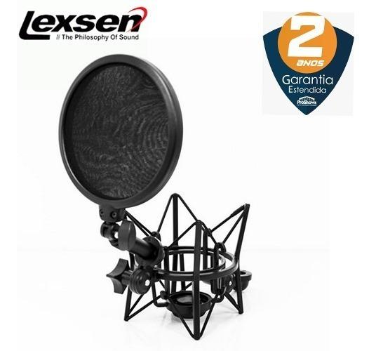 Kit Suporte Shock Mount + Pop Filter Lexsen Lsm-18 Stúdio
