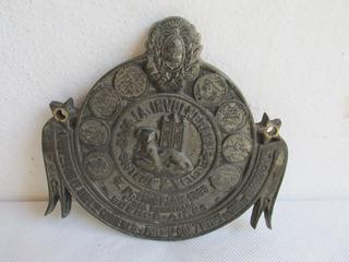 Antigua Insignia Caja Fuerte La Invulnerable Bronce Nique #l