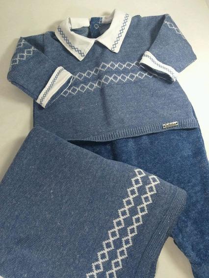 Saida Maternidade Plush Com Trico 2 Pçs Azul Mesclado