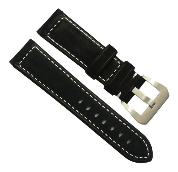 Pulseira De Relógio 22mm Camurça Preta Para Panerai