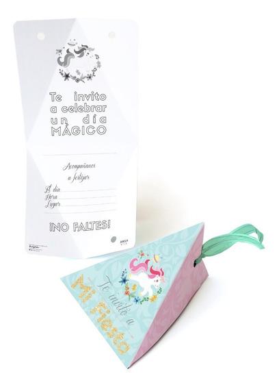 10 Invitaciones Con Listón Para Unicornio Rosa