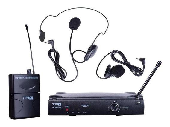 Microfone Sem Fio Headset/lapela Uhf Tag Sound Tm559hsl