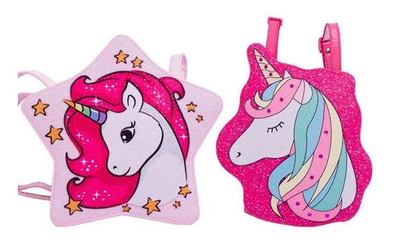 Bolsas Infantis Princesa Pink Kit 2 Bolsas Estrela E Unicórnio - Tamanho Único