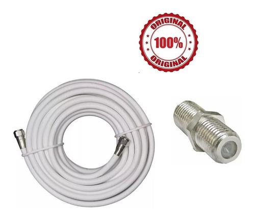 Imagen 1 de 5 de Cable Coaxial Rg-6 Tv Cable 5 Mts + Union Para Alargar