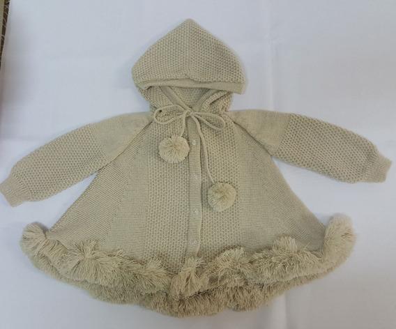 Casaco (trapézio) Para Bebê Bege Com Capuz Tricot