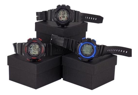 Kit 3 Relógio Orizom Sport Original Preto Azul Vermelho Luz De Led + Caixa Com Nota Fiscal
