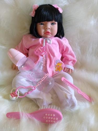 Boneca Barata Bebe Tipo Reborn 15 Itens Morena Pronta ...