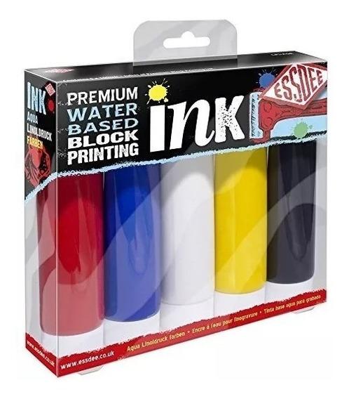 Tintas Grabado Essdee Xilografia Set 5 Colores Al Agua