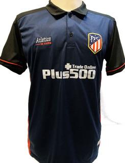 Camisa Polo Atlético Madrid Marinho, Listrada