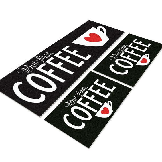 Tapete Para Cozinha Black Coffee Jogo 3 Peças Antiderrapante