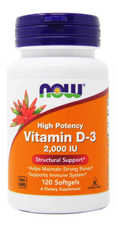 Vitamina D3 2000 Iu Now Foods 120 Softgels Importada Eua
