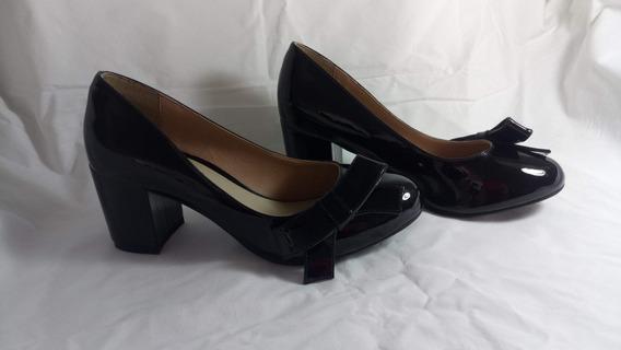 Sapato Feminino Scarpin Grosso Conforto Preto Verniz Mr Cat