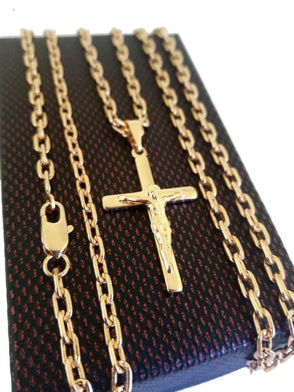 Corrente Cartier 3mm + Pingente Crucifixo Folheados A Ouro 1