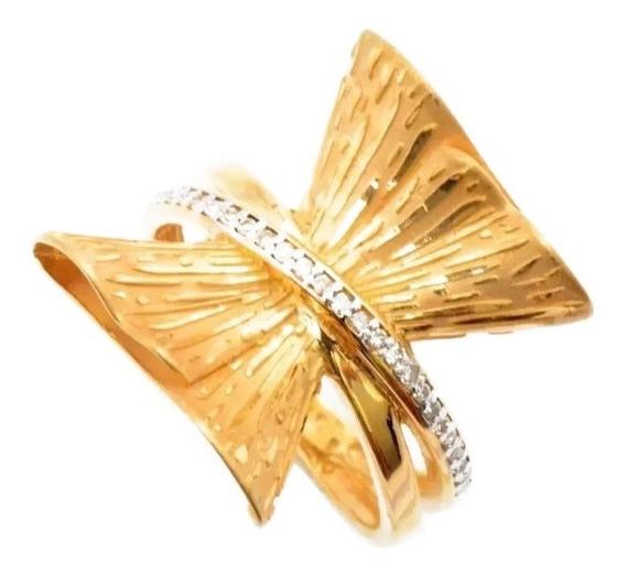 Anel Feminino Ouro 18k Laço Com 28 Brilhantes + Porta Joias 1353