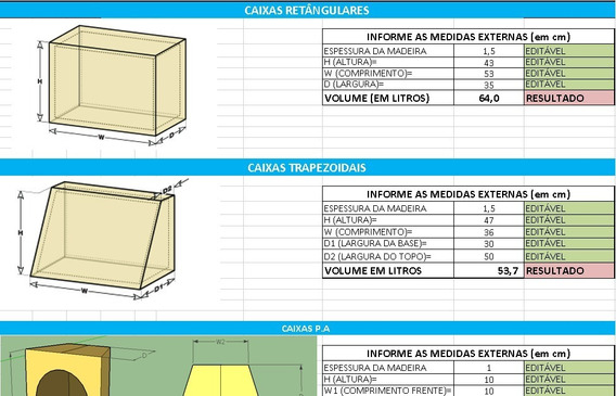 Planilha Para Cubicação De Litragem De Caixa De Som