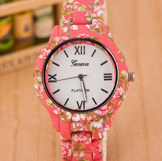 Relógio Geneva De Flor Rosa Pulseira Emborrachado