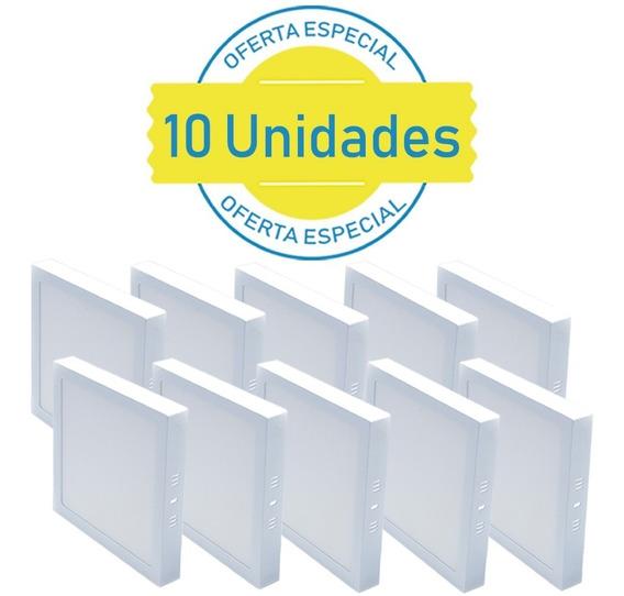 Kit 10 Plafon 18w Quadrado Sobrepor Led Branco Frio Casa