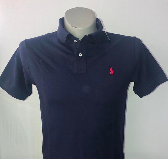 Camiseta Tipo Polo 100% Original Color Azul Oscuro Polo