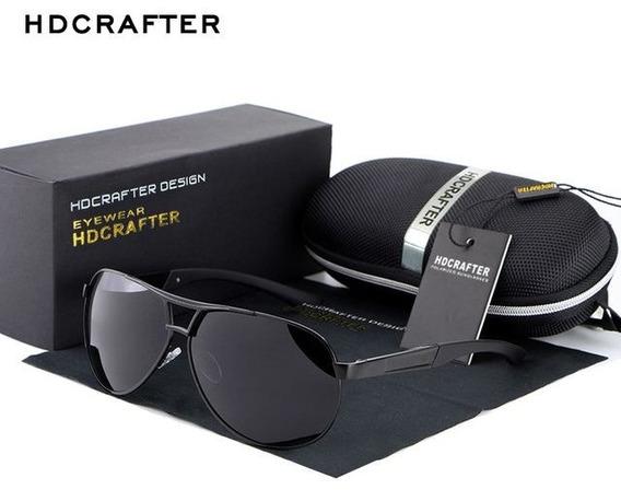 Óculos De Sol Hdcrafter Aviador Original - Preto