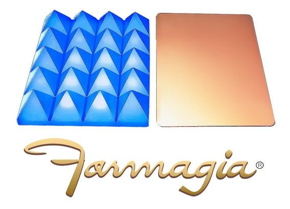 Pirâmide Bateria De Resina Acrílica Azul + Placa De Cobre