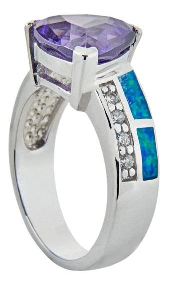 Anillo De Plata Con Amatista Trillion Opal Y Zirconias