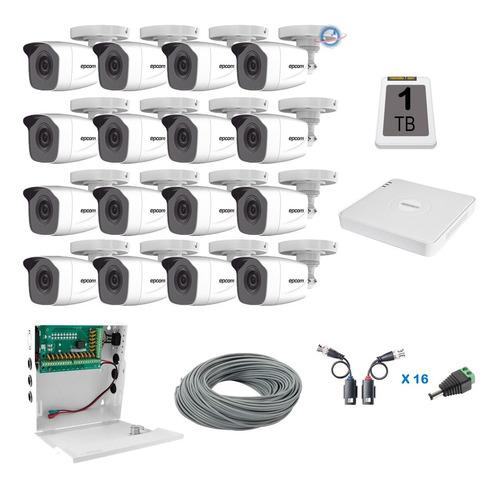 Imagen 1 de 8 de Kit 16 Camaras Epcom Bala Dvr 18c Hd 720p Fuente+cable Cctv