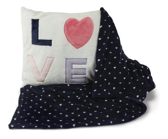 Manta Almofada Flannel Love