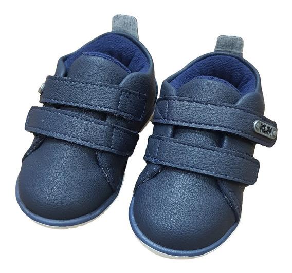 Sapatênis Bebê Klin Cravinho Casual Velcro 18 Ao 21 Marinho