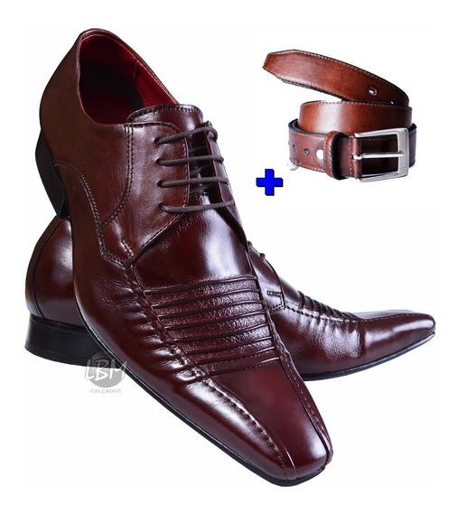 Sapato Masculino Italiano Marrom 100%couro Mais Cinto Fivela