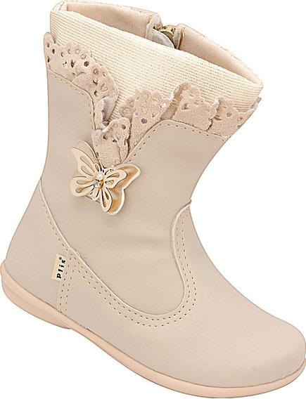 Bota Infantil Menina Marfim Plis Calçados Borboleta 882