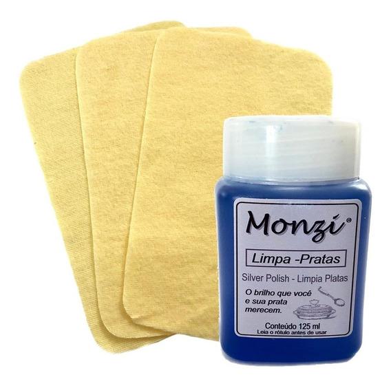 Limpa Prata Monzi 125ml + 03 Flanelas Mágicas - 3631