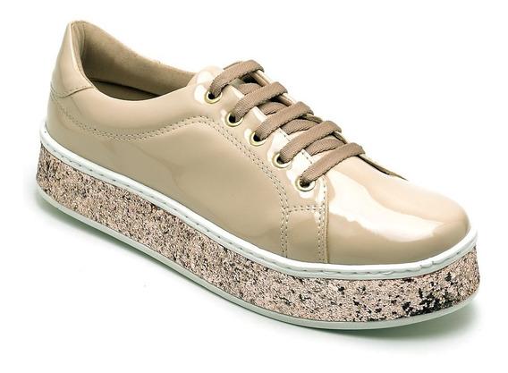 Tênis Casual Feminino Flat Form Preto Glitter Lançamento