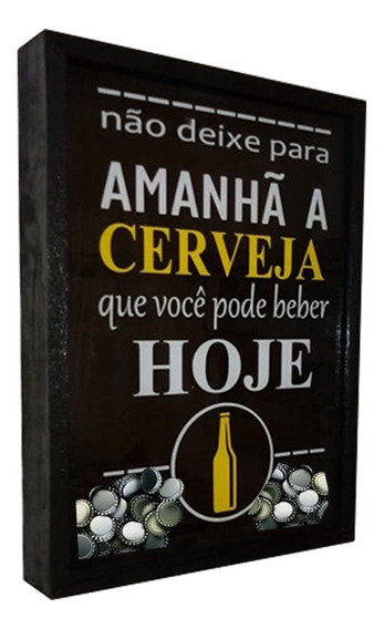 Quadro Decorativo Porta Tampinhas De Cerveja Artesanal Vidro
