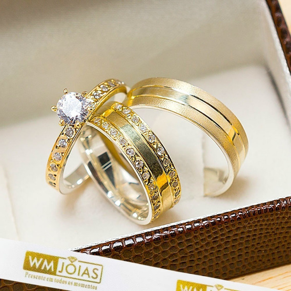 Aliança De Casamento Ouro E Prata + Anel Solitário Wm10208