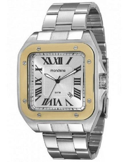 Relógio Mondaine Masc Quadrado Prata Det Dourado N° Romanos