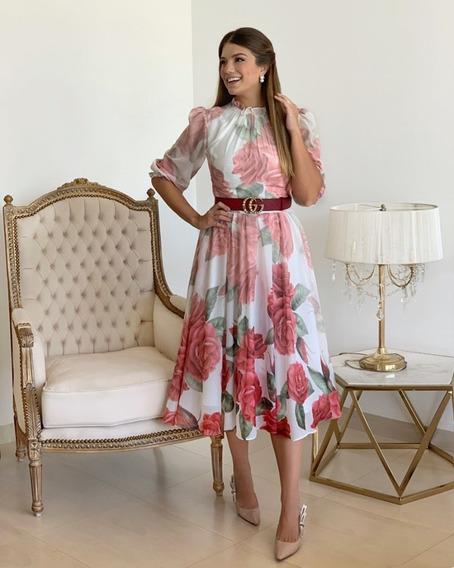 Vestido De Seda Floral Degrade Maxxi Midi, Mangas Princesa