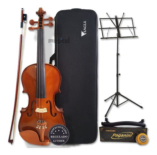 Violino Eagle 4/4 Ve441 Case+breu+arco+espaleira+estante