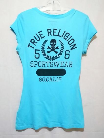 Playera True Religion Azul Cielo Con Pedrería Negra