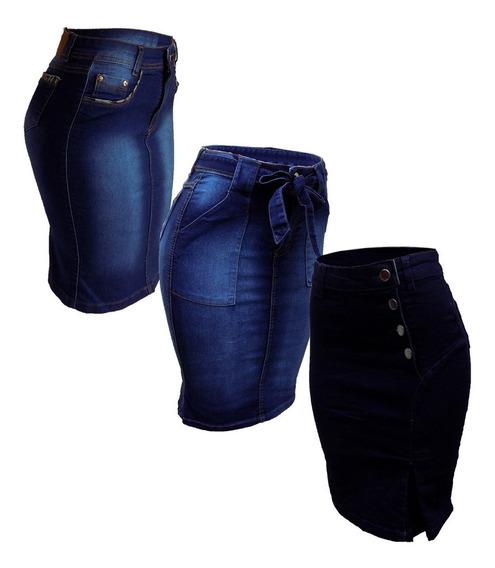 3 Saias Jeans Evangélica Midi Babado Promoção + Brinde