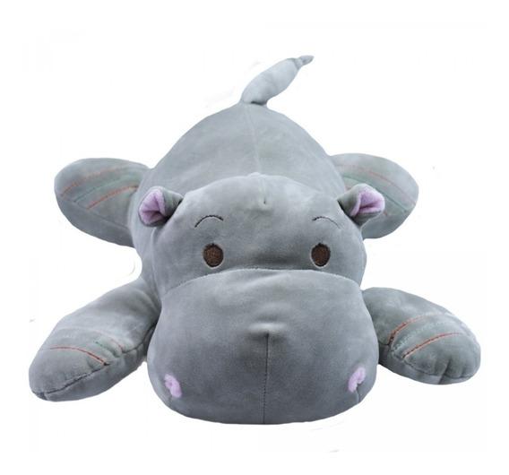Hipopótamo Cinza Deitado 36cm - Pelúcia Super Fofinho