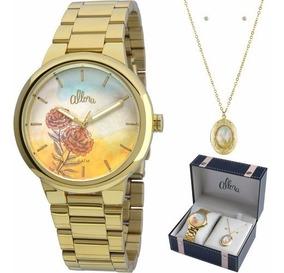 Relógio Allora Feminino C/ Colar E Brincos Al2035fbj/k4l