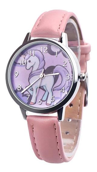 Reloj Unicornio De Cuarzo Para Niña Color Rosa