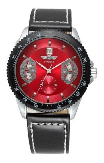 Relógio Masculino Vermelho Winner Automático Calendário