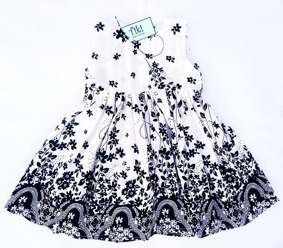 Vestido Tiki Beba Infantil Blanco Y Negro Talles 0 Al 3